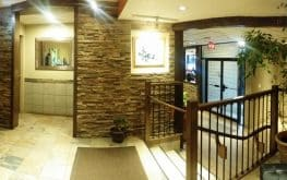 Motel reservation desk view of lobby